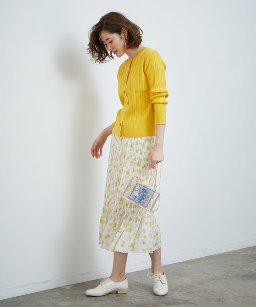 [ROPE' PICNIC] フラワーランダムヘムプリーツスカート