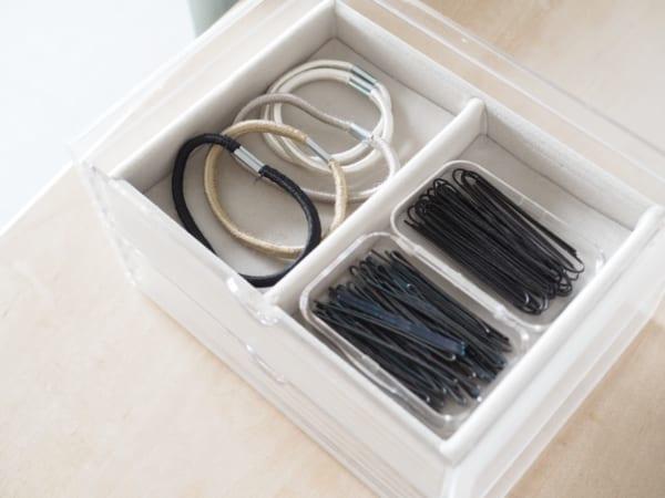 洗面所収納 無印良品 重なるアクリルケース2段フタ付引出2