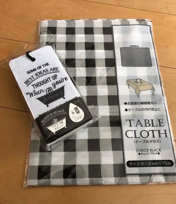 キャンドゥのチェック柄テーブルクロス