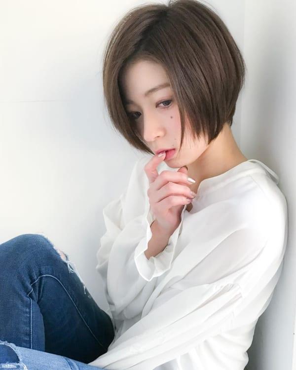 前髪なし 丸顔女性におすすめのショートカット