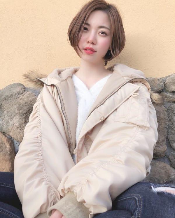 前髪なし 丸顔女性におすすめのショートカット2