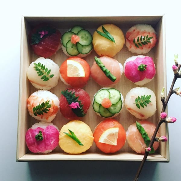 ひな祭り テーブルコーディネート 手まり寿司