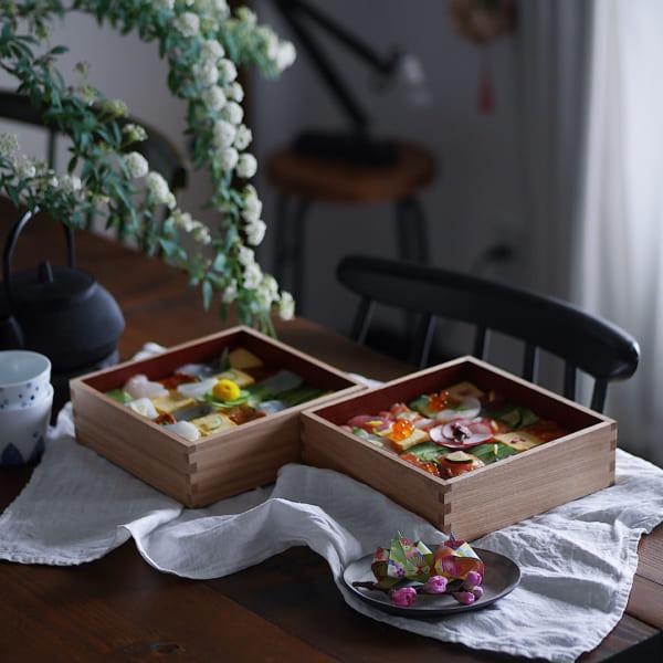 ひな祭り テーブルコーディネート 重箱 モザイク寿司