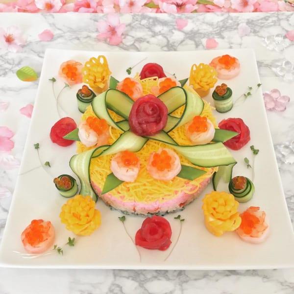 ひな祭り テーブルコーディネート ちらし寿司ケーキ