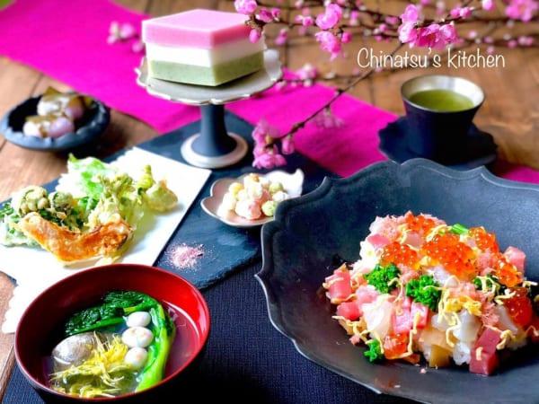 ひな祭り テーブルコーディネート ちらし寿司 スレートプレート
