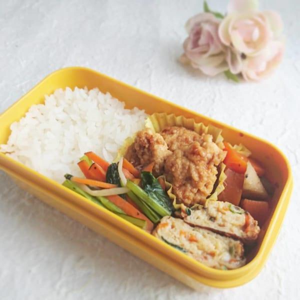 小松菜とにんじん塩昆布の卵焼き