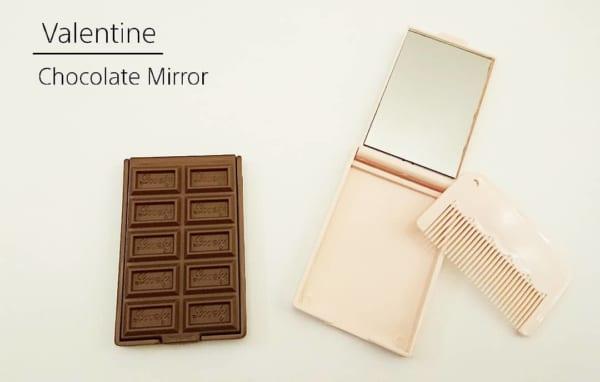 キャンドゥ 板チョコ型ミラー&コーム