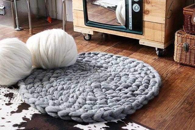 サークルラグ 手編み チャンキーニット