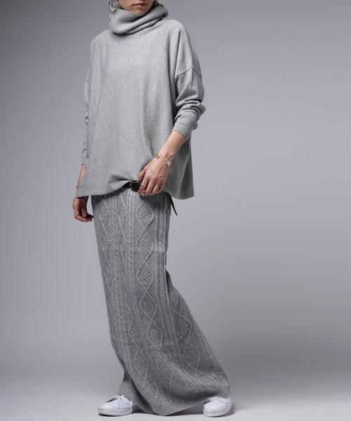 ブロックニットスカート/ウィンドウペン柄ミモレ丈ニットスカート2