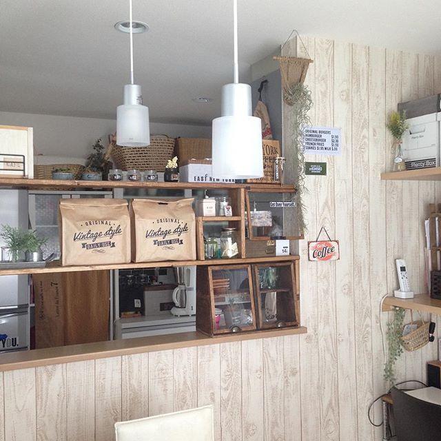 アクセントクロス キッチン・ダイニング カフェ風