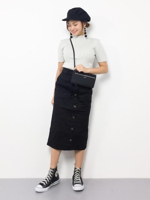 [Honeys] 前ボタンナロースカート2