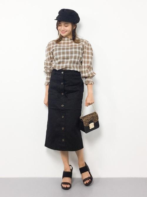 [Honeys] 前ボタンナロースカート