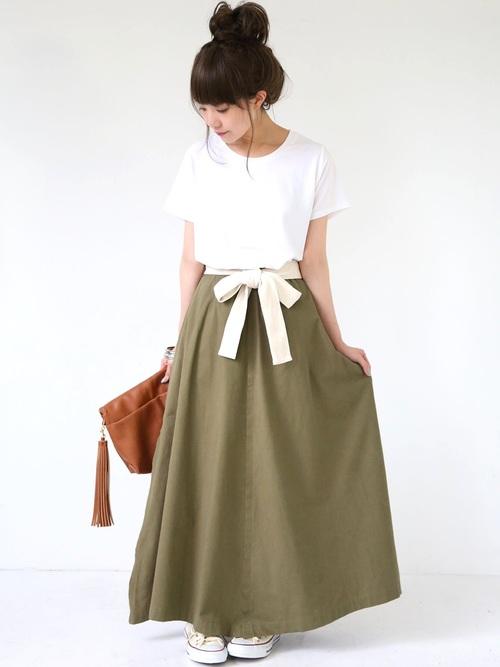 『n'Orリボン付きコットンロングスカート』