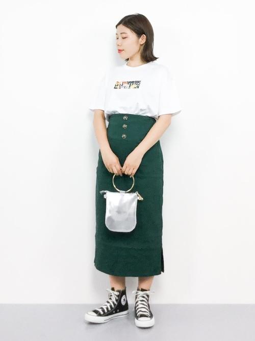 ハイウエストタイトスカート/ミディ丈スカート