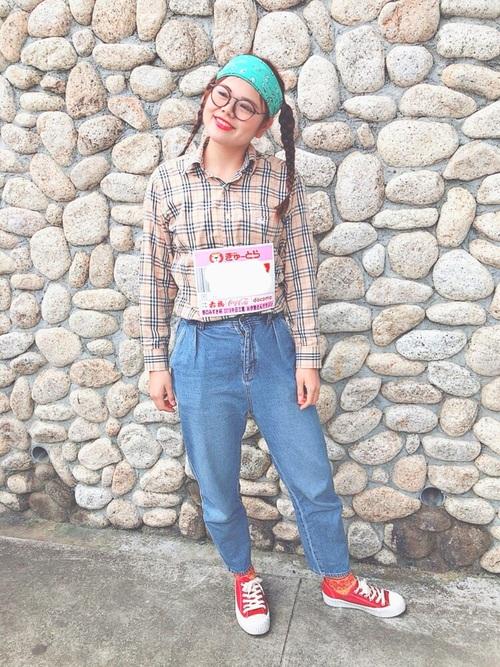 オタク女子定番の服装②チェック柄のシャツ2