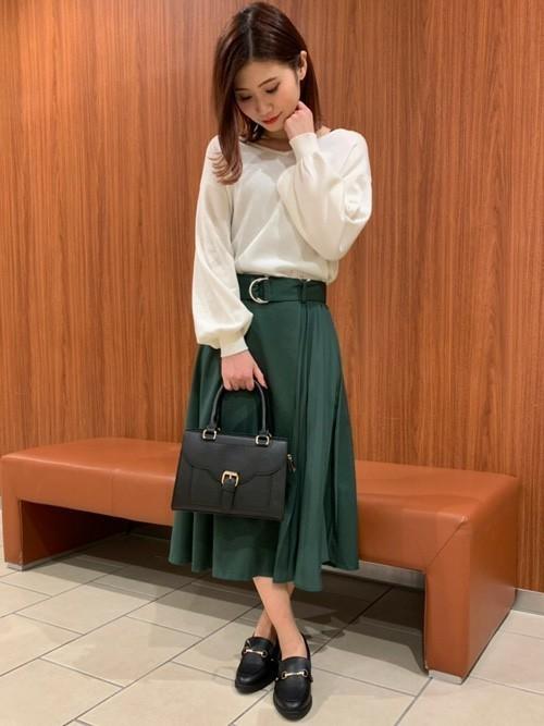 プリーツ切替ミディ/スカート