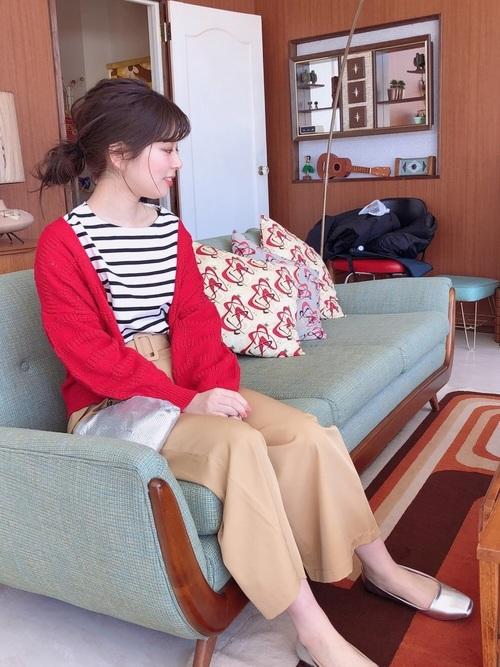 [natural couture] 共ベルト付ききれいめワイド