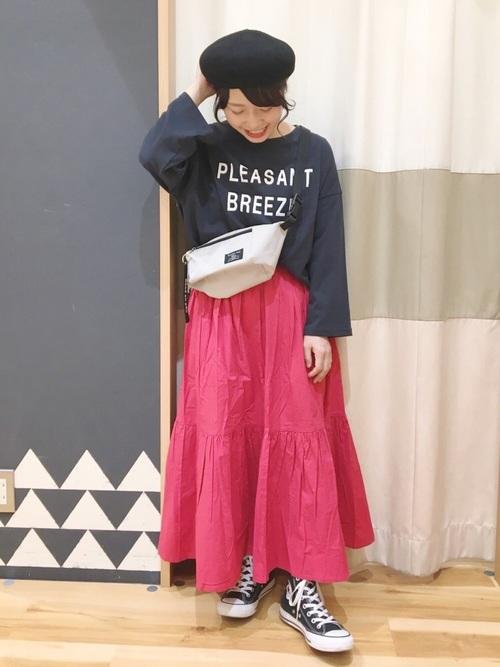 [Samansa Mos2] ポプリンティアードスカート