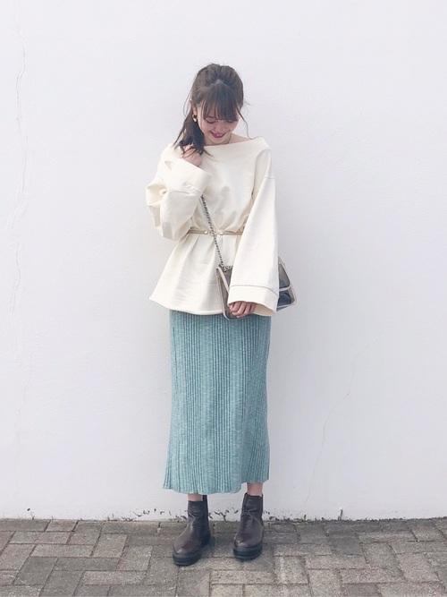 ランダムリブメランジニットタイトスカート