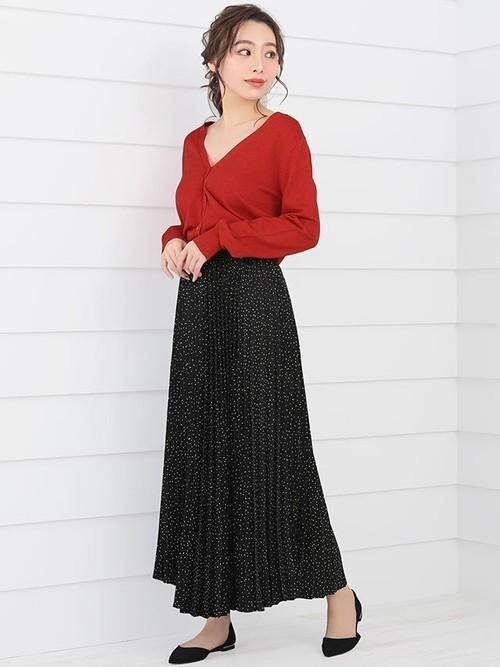 [Nina] ドット柄ロングプリーツスカート