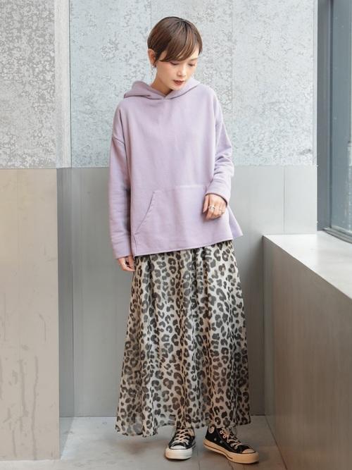 [koe] シフォンレオパードスカート