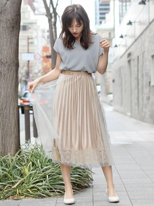 [fellini] 裾レースプリーツチュールスカート