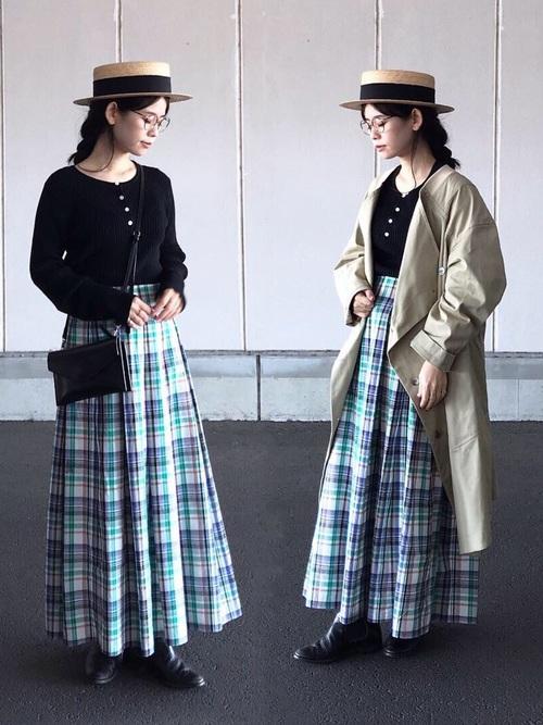 [CIAOPANIC] マドラスチェック柄マキシ丈スカート