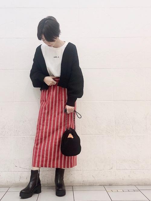 [JEANASIS] ジャガードストライプナロースカート
