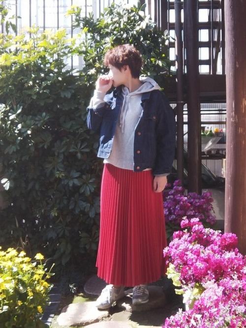 [Green Parks] アコーディオンプリーツロングスカート