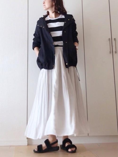 ホワイト ロングスカート サンダル
