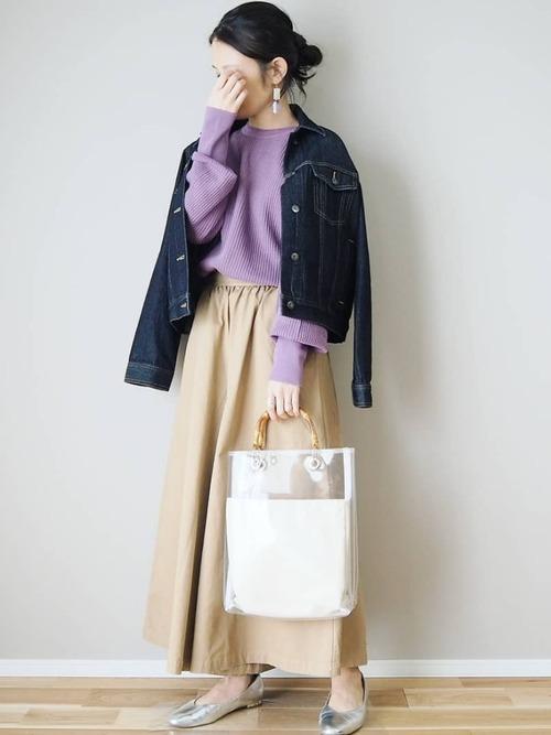 GUの春物アウターコーデ集 デニムジャケット