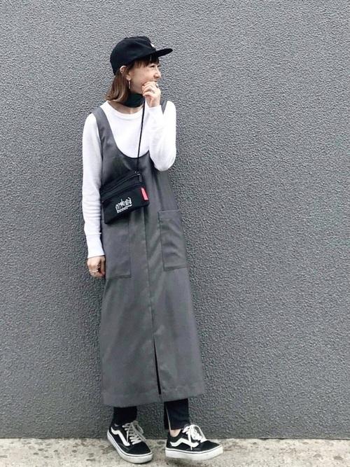 【手洗いできる】【消臭効果】ロングジャンパースカート