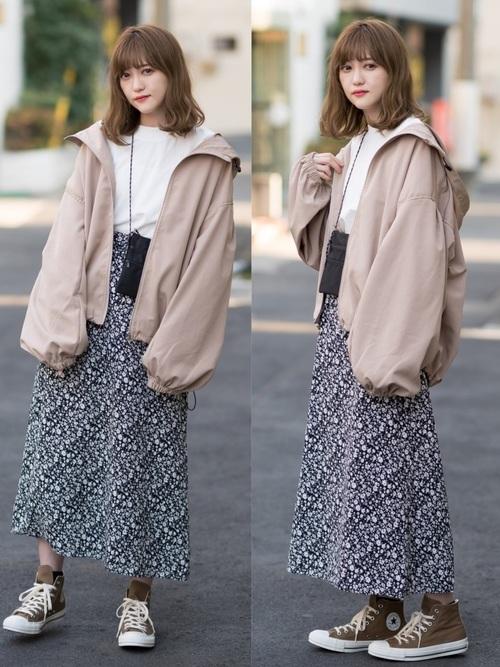 花柄スカート4