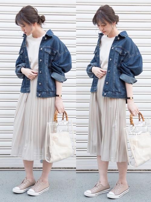 デニムジャケット(しまむら)×プリーツスカート(しまむら)