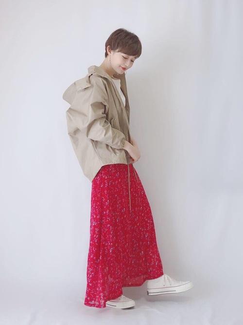 クルミボタンFlowerマーメイドスカート
