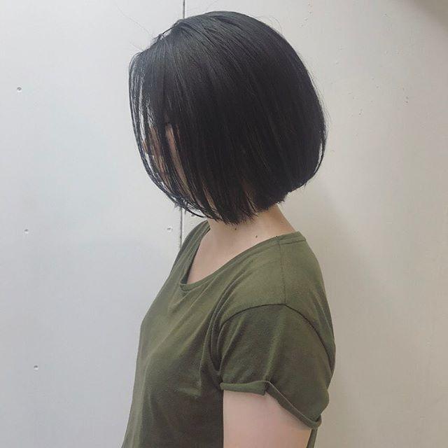 黒髪 ショートボブ 卵3