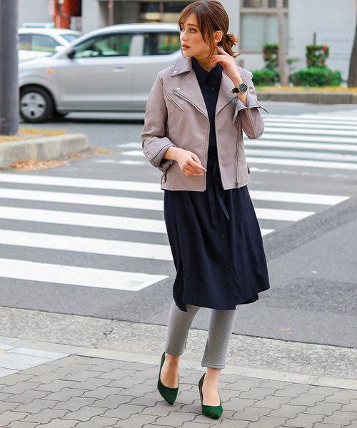 [Fashion Letter] エコレザー ダブルライダースジャケット