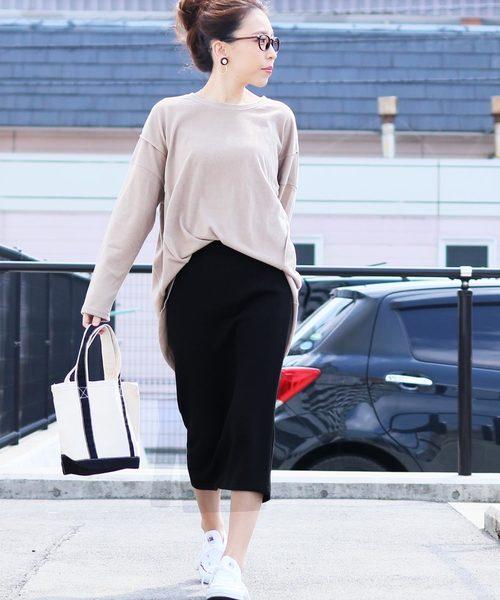 [reca] リブニット ウエストゴムタイトスカート