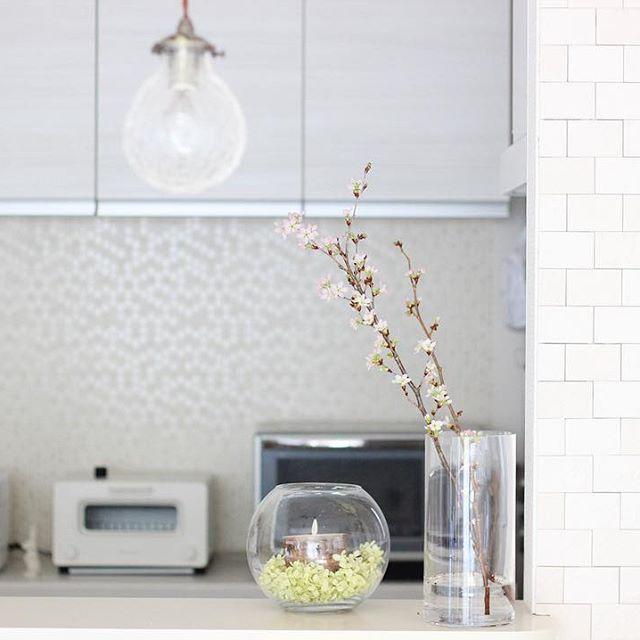 ホワイトインテリア 桜 キッチンカウンター