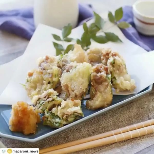 豚バラ肉の梅しそミルフィーユ天ぷら