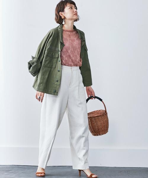 [FELISSIMO] MEDE19F 古着屋でみつけたようなオーバーサイズミリタリージャケット