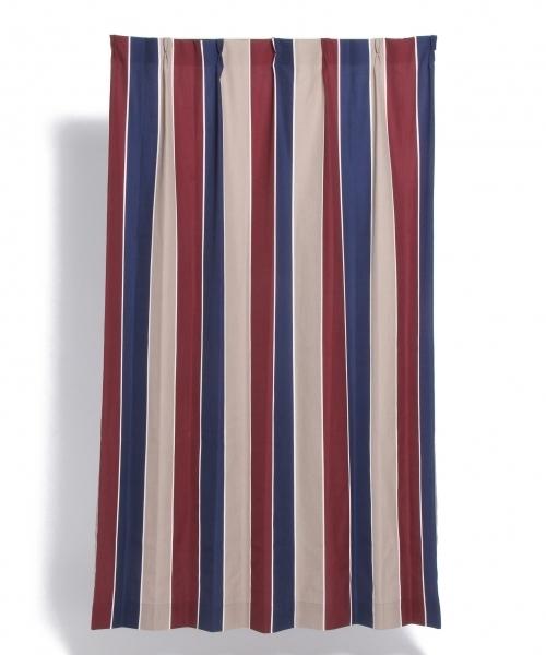 [LAKOLE] [100×178cm]ストライプ麻調織ドレープカーテン / LAKOLE