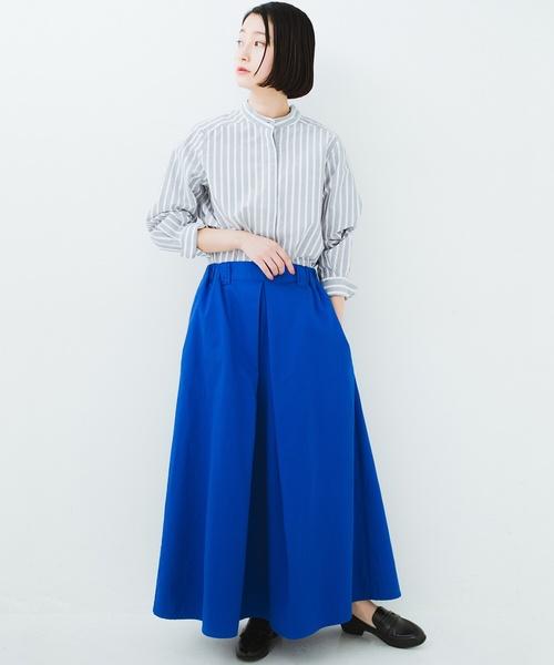 タックボリュームのチノロングスカート