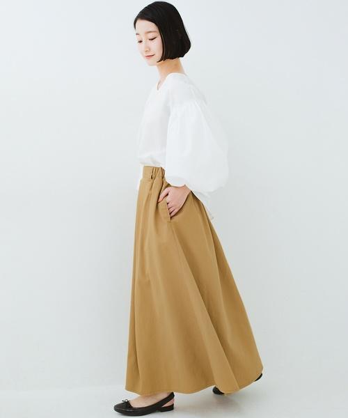[haco!] ロングシーズン楽しめる タックボリュームのチノロングスカート