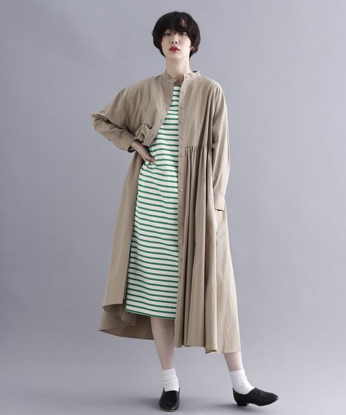 [merlot] ボーダー柄バスクシャツワンピース1294
