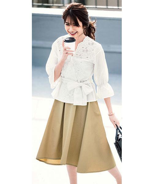 [GeeRA] ベルト付チノフレアースカート