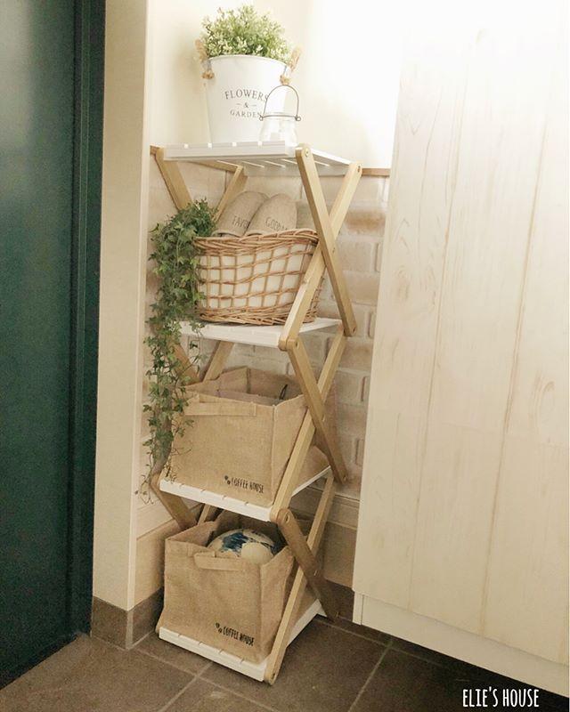 狭い玄関でも使える棚をDIY2