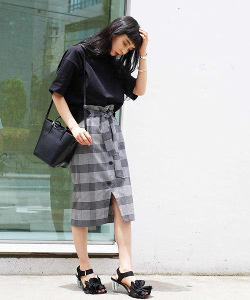 [TOKYO DEPARTMENT STORE] 【NINE】《WEB限定》ギンガムチェック柄ボタンスリットスカート