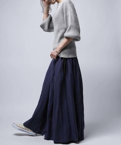 [antiqua] 麻フレアロングスカート