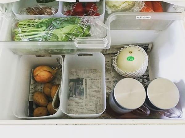 野菜室の整理整頓はポリプロピレンメイクボックスで仕切りを作って2